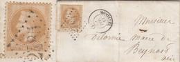 AIN LAC 1863 MONTLUEL LOCALE AVEC 10C LAURE TIMBRE DE BAS DE PLANCE - 1849-1876: Classic Period