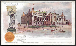 USA 1898 Official Postal Card Stationary Trans Missisippi Auditorium Architecture Statue Flag Omaha Exposition Gondol - America (Other)