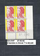 Variété CD4 De 1982 Neuf** Y&T N° 2187 Avec 2 Bande à Cheval Tenant à Saut 27.02.82 - Varieties: 1980-89 Mint/hinged