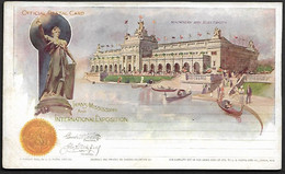 USA 1898 Official Postal Card Stationary Trans Missisippi Machinery Velo Bicycle Flag Omaha Exposition Gondol Architect - America (Other)