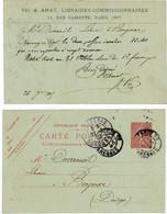 SEINE CP ENTIER REPIQUE 1907 PARIS 6° ENTIER 10C SEMEUSE LIGNEE REPIQUAGE VIC ET AMAT LIBRAIRIE COMMISSIONNAIRE 11 RUE C - 1877-1920: Semi Modern Period