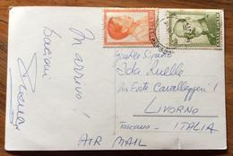 GRECIA - ATENE - LES PROPYLEESDE L'ACROPOLE -  POST CARD PAR AVION  With 1,50 + 20 . 25/7/58   TO LIVORNO  - ITALY - Mundo