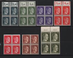 REICH - 1941 - Effige Di Hitler Lotto Di 7 Buoni Valori In Belle Quartine Nuovi** Gomma Integra - Unused Stamps