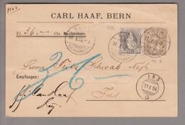 CH Stehende Helvetia 1894-01-10 Bern NN-Karte Mit Zu#69C + 58A Nach Ins - Briefe U. Dokumente