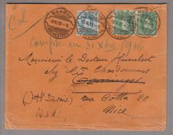 CH Stehende Helvetia 1907-02-06 Genève Rue Du Stade Rasierklingen-O Brief 5tes Gewicht Nch Nice FR Mit Zu#93A+90C2x - Briefe U. Dokumente