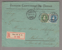 CH Stehende Helvetia 1893-06-02 Bern R-Brief Nach Narbonne FR Mit Zu#67C+70C - Briefe U. Dokumente