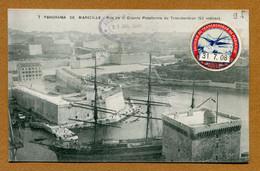 """MARSEILLE  (13) : """" LE TRANSBORDEUR """"  Avec Vignette Commémorative (1908) - Alter Hafen (Vieux Port), Saint-Victor, Le Panier"""