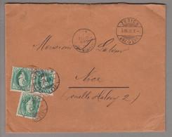 CH Stehende Helvetia 1895-08-05 Zürich Brief 3tes Gewicht Nach Nice FR Mit 3x Zu#67A - Briefe U. Dokumente