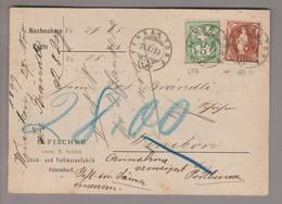 CH Stehende Helvetia 1899-11-27 Fehraltorf NN-Karte Nach Winikon Mit Zu#65B+68C - Briefe U. Dokumente
