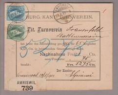 CH Heimat TG Amrisweil 1902-05-29 Nachnahmekarte Nach Frauenfeld Mit Zu#73E Und 74E - Briefe U. Dokumente