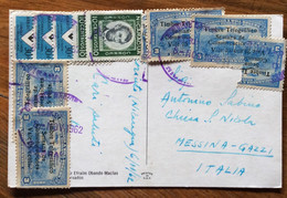 NICARAGUA - UNA VIA DELCENTRO  -  POST CARD  With   11 Valori  To MESSINA - ITALY  - 6/11/62 - Mundo