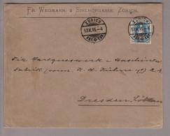 CH Stehende Helvetia 1895-10-17 Zürich Brief 2tes Gewicht Nach Dresden DE Mit Zu#70C - Briefe U. Dokumente