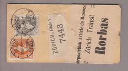CH Stehende Helvetia 1890-03-11 Zürich Filiale 1 Paketanhänger Nach Rorbas Mit Zu#69A+66A - Briefe U. Dokumente