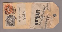 CH Stehende Helvetia 1892-03-28 Zürich Filiale 1 Paketanhänger Nach Altikon Mit Zu# 69C+66C - Briefe U. Dokumente