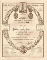 Document Médaille D'Argonne Et De Vauquois + Photo De Remise De Légion D'Honneur  Historique De La 31eme Cie Sur 4 Pages - Historical Documents