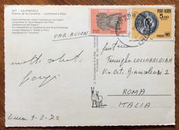 PERU' - CAJAMARCA - PUERTA DE LA CATEDRAL - POST CARD PAR AVION  With1,5+5 S. TO ROMA - 9/2/72 - Mundo