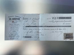 1904 Facture Produits Chimiques CH. Chrétien Teintures Droguerie Pétroles Essences NANCY Timbre 10c Quittances Reçus - 1900 – 1949