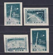 NORTH KOREA 1958, Sc# 134a-137a, CV $98, Imperf, Space, Used - Korea (Noord)