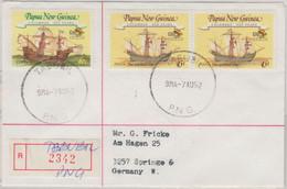 Papua Neuguinea - Tabubil 1992 Einschreibebrief 2x45+60 T Columbus Segelschiffe - Papua New Guinea