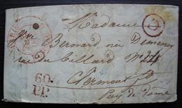 Paris 1835 Bureau C Cachet Rouge 30mm + Petit C Entouré 14mm + 60/P.P En Rouge, Lettre Pour Clermont - 1801-1848: Vorläufer XIX