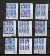 Lot  9 Coins Datés Neufs* Marianne De Gandon  Dates Différentes - 1950-1959