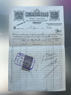 1902 Facture Vve A. Voinier Légumes Foin Paille Graines Avoine Faubourg St Georges NANCY Timbre 10c Quittances Reçus - 1900 – 1949