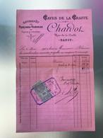 1902 Facture Chardol Caves De La Craffe Entrepôt Vin De France Algérie NANCY Avec Timbre 10 Centimes Quittances Reçus - 1900 – 1949