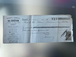 1902 Facture Produits Chimiques CH. Chrétien Teintures Droguerie Pétroles Essences NANCY Timbre 10c Quittances Reçus - 1900 – 1949