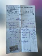 1891 Facture Mme Gillet Robes Et Confections Nancy Timbre 10c Quittances Reçus - 1900 – 1949