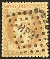 YT 28B (°) Obl L Ambulants HP2° Le Havre à Paris 1863-70 Napoléon III Lauré, 10c Type II (8 Euros) France – Ciel - 1863-1870 Napoléon III. Laure