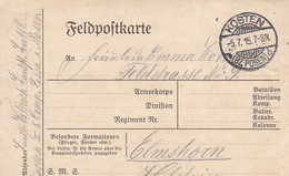 Feldpostkarte - Landsturm Battl. Kosten Bz. Posen Nach Elmshorn  (56826) - Covers & Documents
