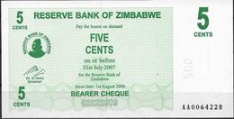 ZIMBABWE  UNC  5 CENT  2006  P34  SERIE AA  BEARER CHEQUE - Zimbabwe