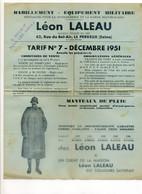 Document Publicitaire, Léon LALEU, Le PERREUX - Tarif équipement Militaire, Pour La Gendarmerie Et Garde Républicaine - Pubblicitari