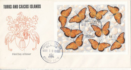 Turks & Caicos FDC 19-3-1990 Minisheet Butterflies With Cachet - Turks & Caicos (I. Turques Et Caïques)