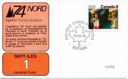 CANADA. Carte Commémorative De 1976. 74° Nord Regard Sur L'Arctique De Demain. - Expediciones árticas