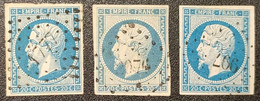 Napoléon III  N° 14A X3 Avec Oblitération Losange Centrale 1777/2074/997  TB - 1853-1860 Napoléon III