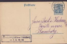 Deutsches Reich Postal Stationery Ganzsache FLENSBURG 1920 HAMURG Boxed ZULASSUNGSSTELLE FLENSBURG 20 Pf. Germania - Interi Postali