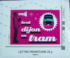 """France - Montimbramoi - Lettre Prioritaire  20gr - """"tout Dijon En Tram"""" - Oblitéré - Sur Fragment - Personalisiert"""