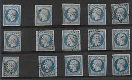 France N°14A Un Lot De Timbres Divers. - 1853-1860 Napoléon III