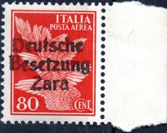 ZARA, OCCUPAZIONE TEDESCA, POSTA AEREA, AIRMAIL, 1943, 80 C., FRANCOBOLLO USATO Mi:DE-ZA 26, Yt:YU-ZA PA4 - Ocu. Alemana: Zara