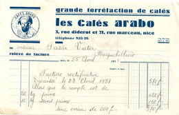 FACTURE NICE Café ARABO Lot De 2 Documents 1938 & 1940 - 1900 – 1949