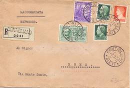 1939 Raccomandata Espresso Da Contigliano Per Roma Con Bella Affrancatura - Storia Postale