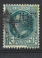 1932 Célébrité Aristide Briand YT 291 Perforé WBF - Perforadas
