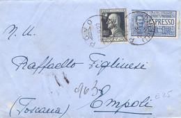 1927 Espresso Da POVO Per Empoli Con A .Volta Da 50c - Storia Postale