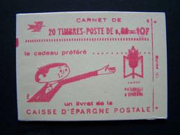1664-C2 CONF. 6 CARNET FERME 20 TIMBRES MARIANNE DE BEQUET 0,50 ROUGE CAISSE D'EPARGNE POSTALE - Standaardgebruik