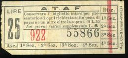 Firenze Biglietto ATAF 25 Lire 67x30mm - Europe