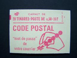 1664-C5 CONF. 8 CARNET FERME 20 TIMBRES MARIANNE DE BEQUET 0,50 ROUGE CODE POSTAL - Freimarke