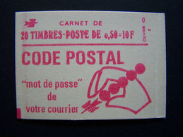 1664-C9 CONF. 8 CARNET NUMEROTE FERME 20 TIMBRES MARIANNE DE BEQUET 0,50 ROUGE CODE POSTAL - Standaardgebruik
