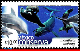 Ref. MX-2266 MEXICO 2002 NATURE, CONSERVATION, MARINE, MAMMALS, DOLPHIN, WHALE, (10.00P), MNH 1V Sc# 2266 - Environment & Climate Protection