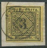Württemberg 1851 Ziffer In Raute 3 Kreuzer 2 A V Gestempelt K2 HALL - Wuerttemberg